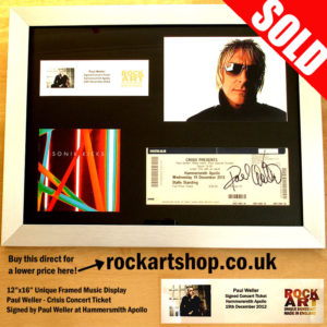 PAUL WELLER SIGNED CRISIS CONCERT TICKET CD MUSIC DISPLAY