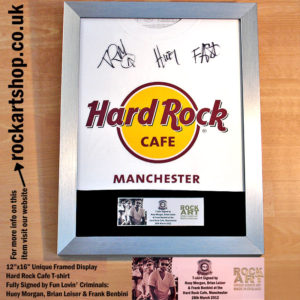FUN LOVIN' CRIMINALS SIGNED HARD ROCK CAFE T-SHIRT HUEY MORGAN
