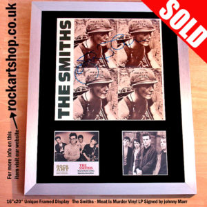 THE SMITHS MEAT IS MURDER VINYL LP SIGNED BY JOHNNY MARR