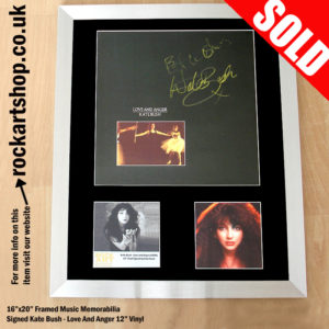 KATE BUSH LOVE AND ANGER AUTOGRAPHED VINYL RECORD 1990