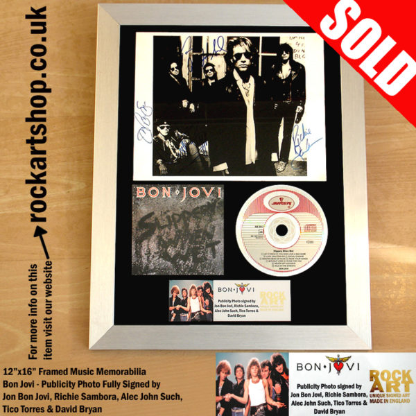 BON JOVI FULLY SIGNED BY ALL 5 BAND MEMBERS SLIPPERY WHEN WET