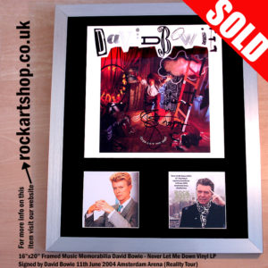 DAVID BOWIE SIGNED VINYL LP AUTOGRAPHED FRAMED & LETTER