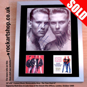 BROS THE TIME LP SIGNED BY MATT & LUKE GOSS AUTOGRAPHED BROS