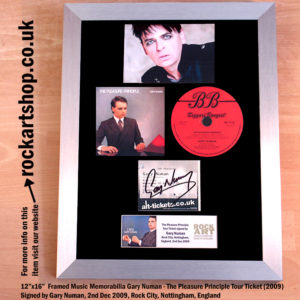 GARY NUMAN SIGNED THE PLEASURE PRINCIPLE TICKET & CD