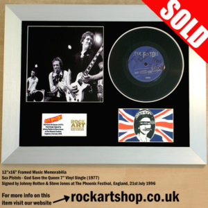 SEX PISTOLS GOD SAVE THE QUEEN SIGNED JOHNNY ROTTEN STEVE JONES