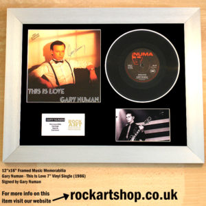 GARY NUMAN THIS IS LOVE FRAMED AUTOGRAPHED 7″ VINYL SINGLE