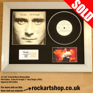 PHIL COLLINS IN THE AIR TONIGHT AUTOGRAPHED 7″ VINYL SINGLE