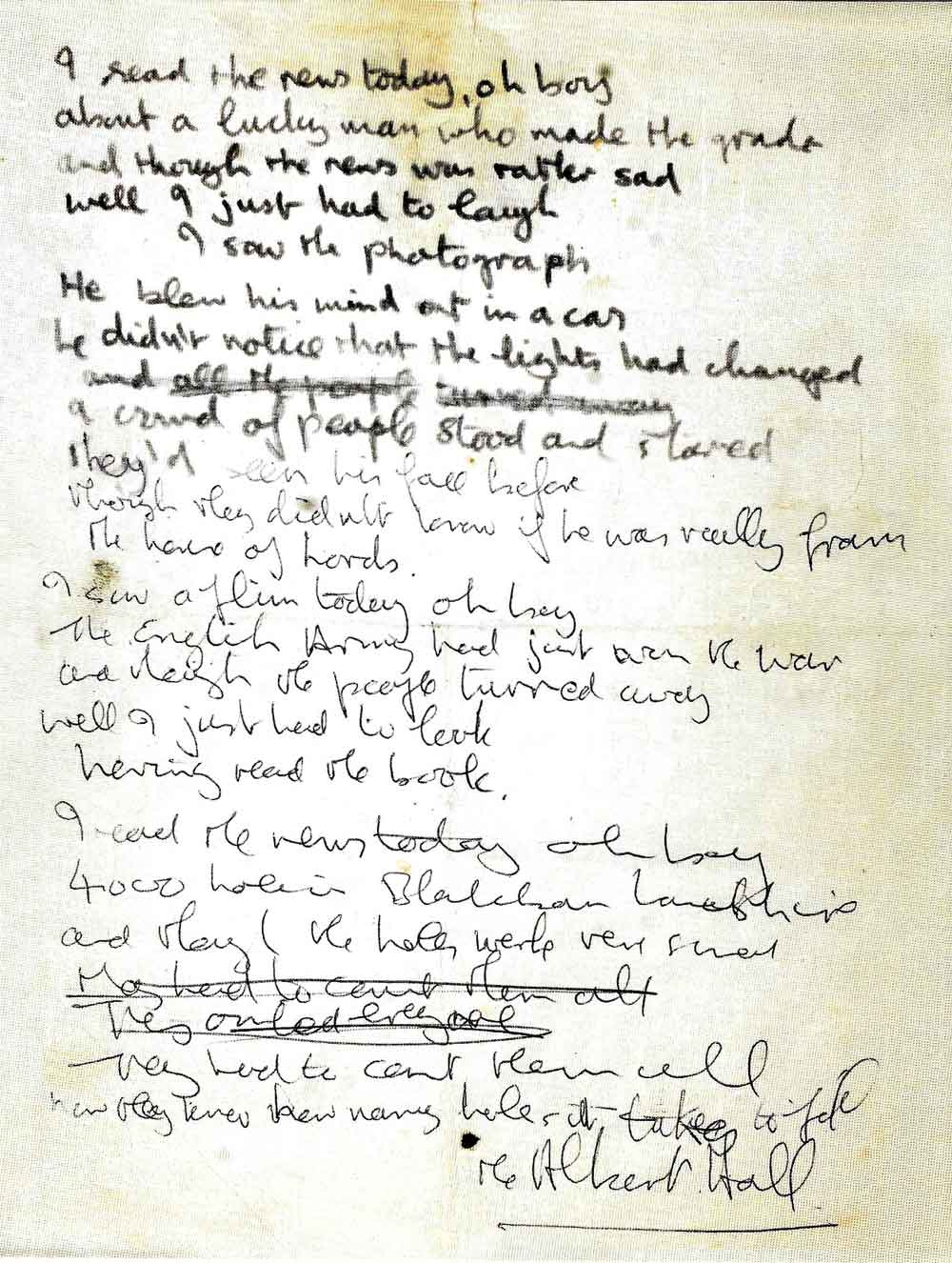 John Lennon's Handwritten Lyrics for The Beatles A Day in the Life