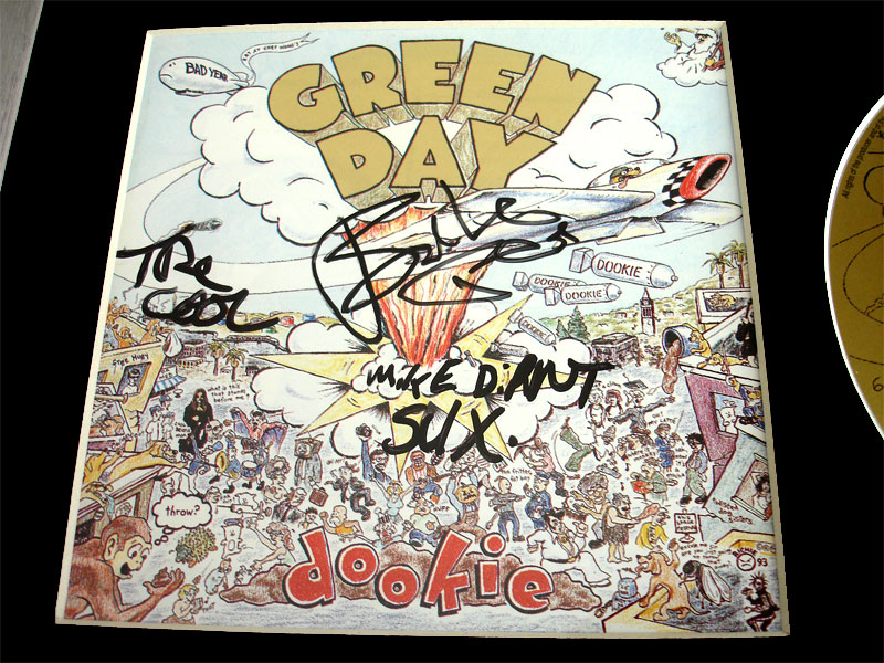 Green Day Dookie Cd Fully Signed Joe Mike Tre Reading 1995