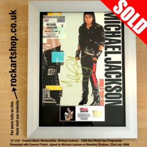 MICHAEL JACKSON SIGNED BAD PROGRAMME & TICKET AUTOGRAPHED