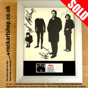 THE STRANGLERS BLACK & WHITE LP FULLY SIGNED HUGH JJ JET DAVE