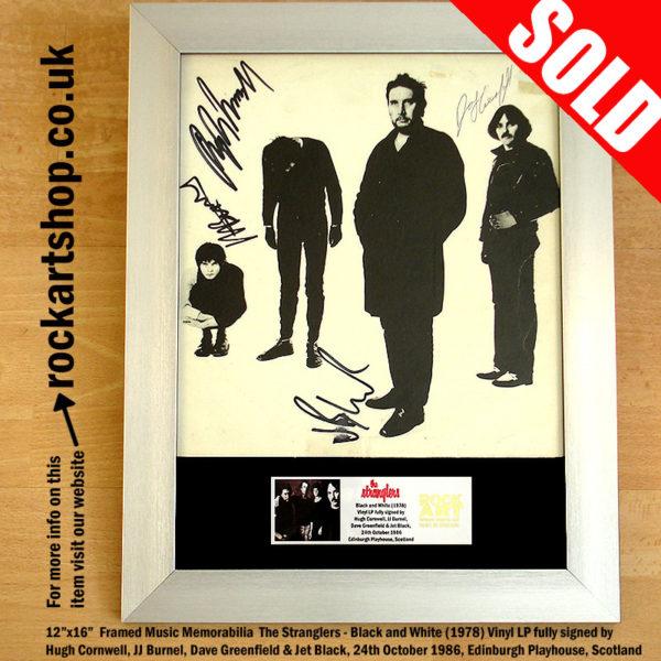 THE STRANGLERS BLACK & WHITE LP FULLY SIGNED HUGH JJ JET DAVE