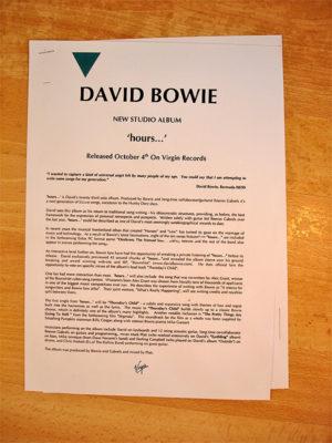 David Bowie Hours Press Release ROCK ART