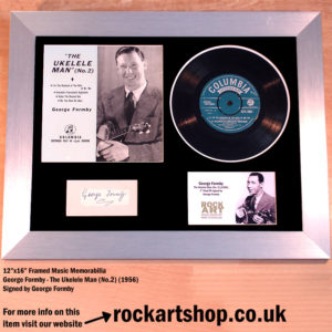 GEORGE FORMBY SIGNED FRAMED VINYL SINGLE UKELELE MAN