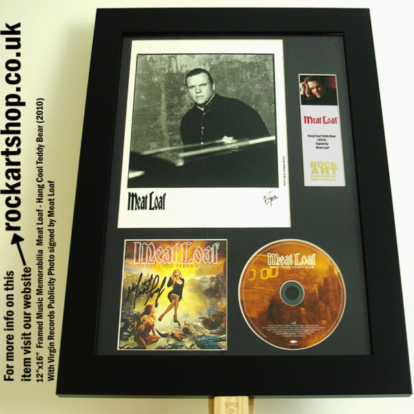 MEAT LOAF AUTOGRAPHED HANG COOL TEDDY BEAR CD FRAMED