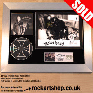 MOTORHEAD FULLY SIGNED LEMMY +PHIL+MIKKEY MUSIC MEMORABILIA