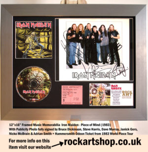 IRON MAIDEN SIGNED BRUCE+STEVE+DAVE+JANICK+NICKO+ADRIAN