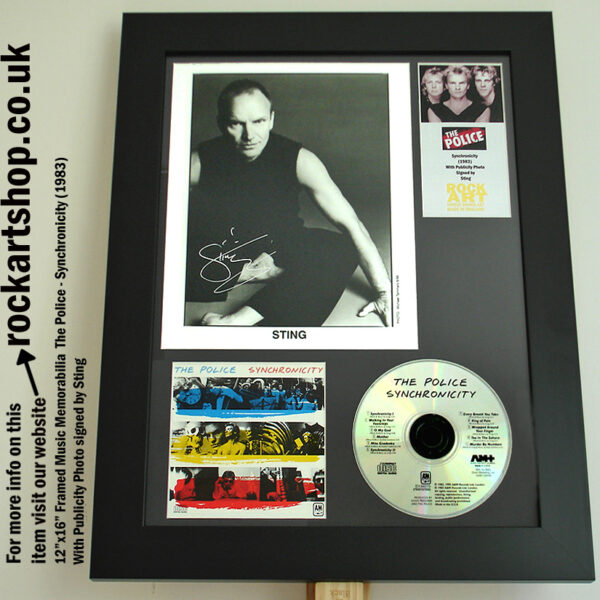 THE POLICE SYNCHRONICITY PUBLICITY PHOTO AUTOGRAPHED STING