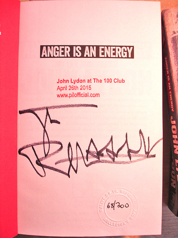 John Lydon Anger Is An Energy Signed Book Autographed 2015