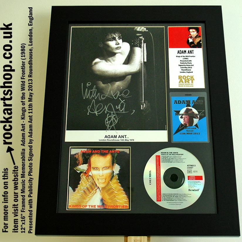 ADAM ANT SIGNED PUBLICITY PHOTO CD FRAMED MEMORABILIA