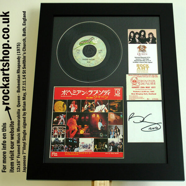 QUEEN BOHEMIAN RHAPSODY VINYL SIGNED BRIAN MAY +TICKET