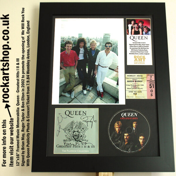 QUEEN CD SIGNED BRIAN MAY ROGER TAYLOR PHOTO TICKET MEMORABILIA