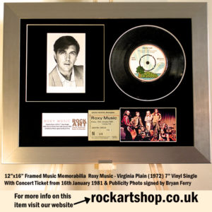 BRYAN FERRY ROXY MUSIC SIGNED VIRGINIA PLAIN VINYL SINGLE