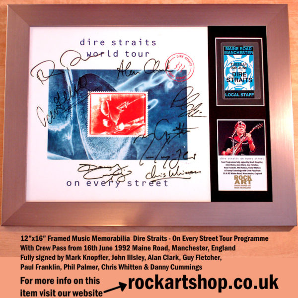 DIRE STRAITS SIGNED BY 8 MEMBERS MARK KNOPFLER AUTOGRAPHED