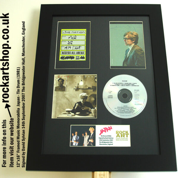 JAPAN TIN DRUM AUTOGRAPHED BY DAVID SYLVIAN +BACKSTAGE PASS