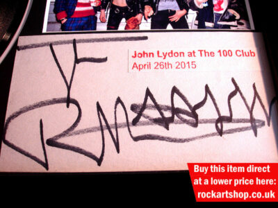 SEX PISTOLS GOD SAVE THE QUEEN VINYL SIGNED JOHNNY ROTTEN PHOTO