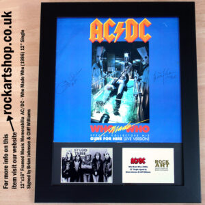 AC/DC WHO MADE WHO VINYL SIGNED BY BRIAN JOHNSON CLIFF WILLIAMS