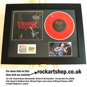 BULLET FOR MY VALENTINE SCREAM AIM FIRE VINYL FULLY SIGNED MATT TUCK