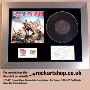 IRON MAIDEN THE TROOPER VINYL SINGLE SIGNED BY BRUCE DICKINSON