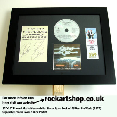 STATUS QUO ROCKIN ALL OVER THE WORLD AUTOGRAPHED BY ROSSI & PARFITT