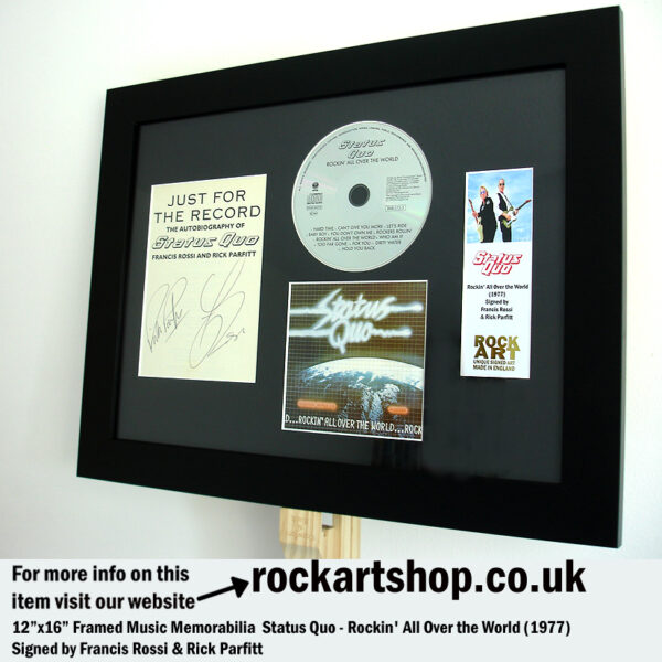 STATUS QUO ROCKIN ALL OVER THE WORLD SIGNED BY ROSSI & PARFITT