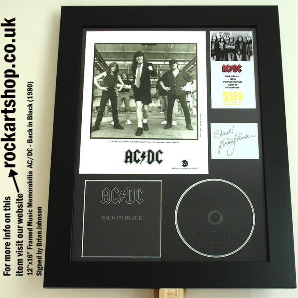 AC/DC BACK IN BLACK AUTOGRAPHED BRIAN JOHNSON MEMORABILIA