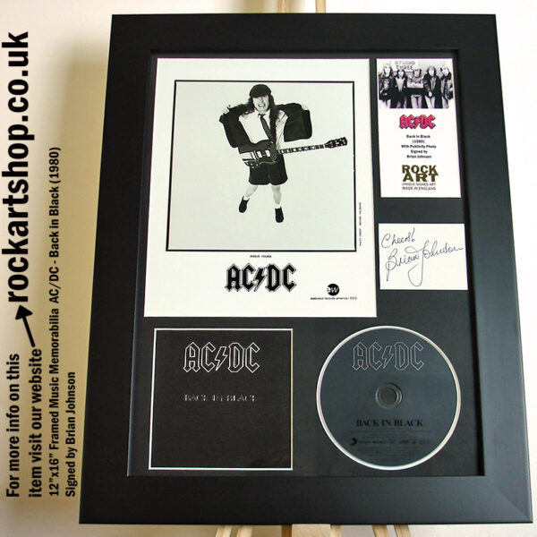 AC/DC BACK IN BLACK SIGNED BY BRIAN JOHNSON AUTOGRAPHED