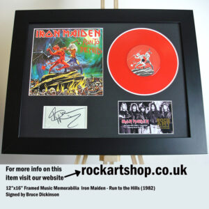 IRON MAIDEN RUN TO THE HILLS SIGNED BRUCE DICKINSON MEMORABILIA